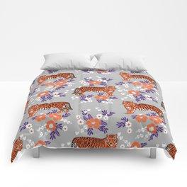 Tigers orange and purple clemson football varsity university college sports fan gifts Comforters