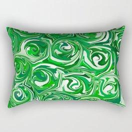 Emerald Green, Green Apple, and White Paint Swirls Rectangular Pillow