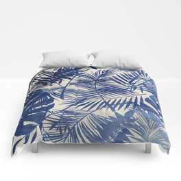 Cobalt Blue Tropical Leaf Pattern Comforters
