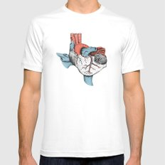 The Heart of Texas (Red, White and Blue) LARGE Mens Fitted Tee White