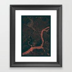 Philadelphia Map Red Framed Art Print