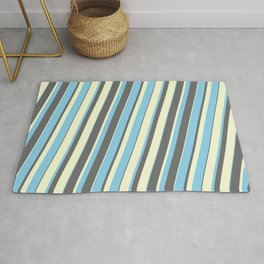 Sky Blue, Dim Gray, and Light Yellow Colored Lined/Striped Pattern Rug