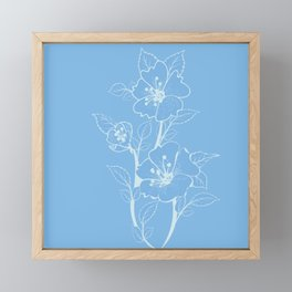 Blue Glass Floral Tile Framed Mini Art Print