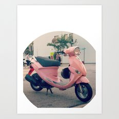 Pink Scooter Art Print