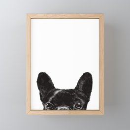 Peeking French Bulldog Framed Mini Art Print