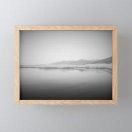 Lake Scene In Black And White Framed Mini Art Print