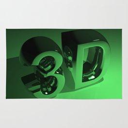 3D in metallic green Rug