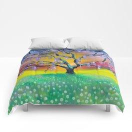 Entanglement, colorful tree landscape, beautiful landscape, cypress tree Comforters