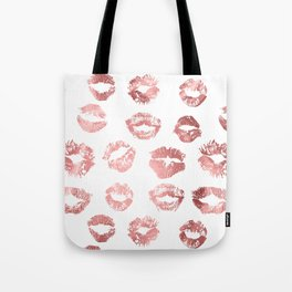Girly Fashion Lips Rose Gold Lipstick Pattern Tote Bag