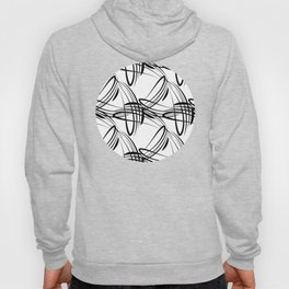 Pattern from black lines on a white background in vintage style. Hoody