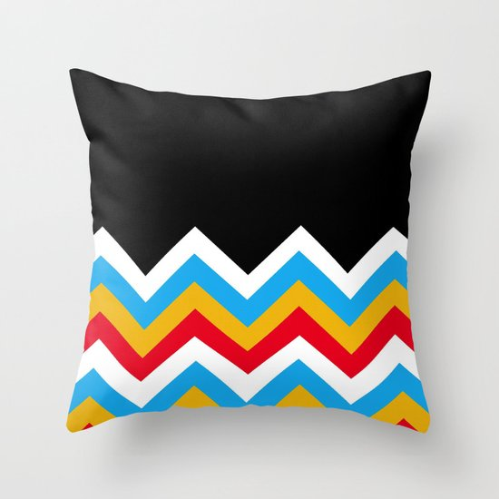 Color Blocked Chevron 18 Throw Pillow