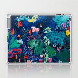 Brightly Rainbow Tropical Jungle Mural with Birds and Tiny Big Cats Laptop & iPad Skin