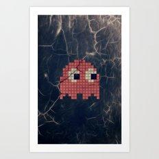 Pac-Man Pink Ghost Art Print