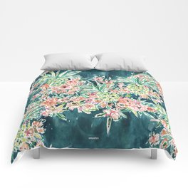 PINEAPPLE PARTY Lush Tropical Boho Floral Comforters