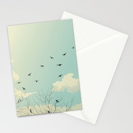 Fly Away - Watercolor Sky with Birds In Flight Stationery Cards