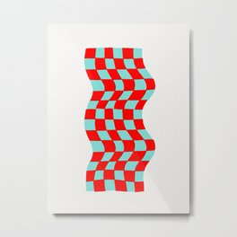 Checkered Table Cloth (in 3D) Metal Print