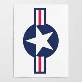 US Airforce style roundel star - High Quality image Poster