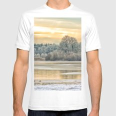 Walk on the winter lake White Mens Fitted Tee MEDIUM