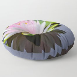 Pink Lotus & Green Lily Pads On A Jet Black Pond Floor Pillow