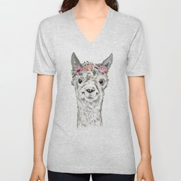 Lovely Llama, Llama Art, Llama Illustration, Boho Llama, Bohemian, Floral Crown, Hand Drawn Unisex V-Neck