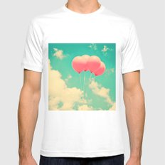 Balloons in the sky (pink ballons in retro blue sky) Mens Fitted Tee MEDIUM White