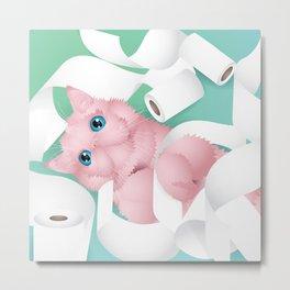 naughty toilet paper cat Metal Print