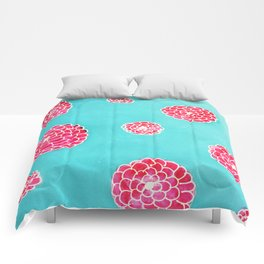Pink flowers in blue Comforters