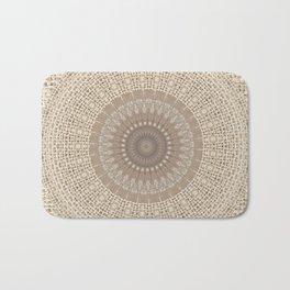 Unique Texture Taupe Burlap Mandala Design Badematte