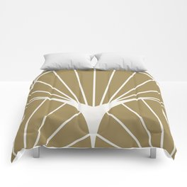Diamond Series Round Sun Burst White on Gold Comforters