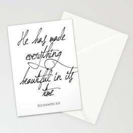 Ecclesiastes 3:11 He has made everything beautiful in its time Religious Bible Verse Quote Art Stationery Cards