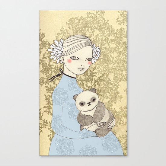 Girl with Panda Canvas Print