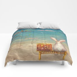 Sad rabbit  with suitcase sitting on the bench on the cloud in sky  Comforters