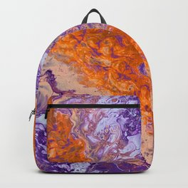 Clemson Orange and Purple Paint Pour Effect Backpack