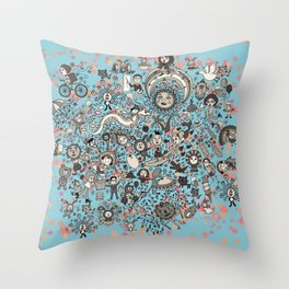 Unknown world in Blue Throw Pillow