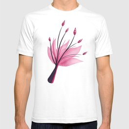Pink Abstract Water Lily Flower T-shirt