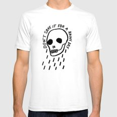 ink black and white skull illustration typography SMALL White Mens Fitted Tee
