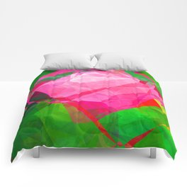 Pink Roses in Anzures 6 Abstract Polygons 1 Comforters