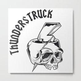 Thunderstruck Skull Metal Print