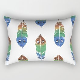 """Watercolor Painting of Picture """"Decorative Feathers"""" Rectangular Pillow"""
