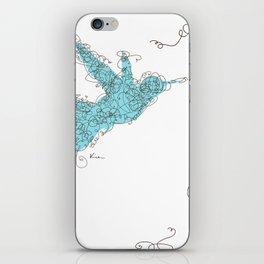 Bird Fly 1 - Aqua/Brown iPhone Skin
