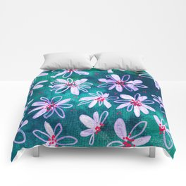 Daisy Flowers | Whimsical Watercolor Daisies on Cyan BlueTeal Comforters