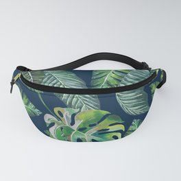 Jungle Leaves, Banana, Monstera, Blue Fanny Pack