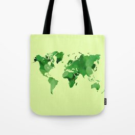 Green world map Tote Bag