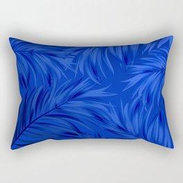 Palm Tree Fronds Brilliant Blue on Blue Hawaii Tropical Décor Rectangular Pillow