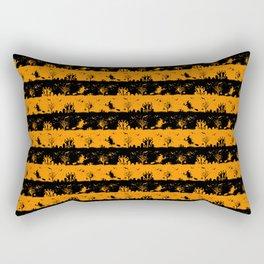 Light Pumpkin Orange and Black Halloween Nightmare Stripes Rectangular Pillow