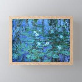 Claude Monet Water Lilies BLUE Framed Mini Art Print