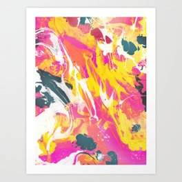Phux and yellow psychedelic marble Art Print