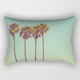 Three California Palm Trees Against Green Teal Background Vintage American Art Bohemian Retro Rectangular Pillow