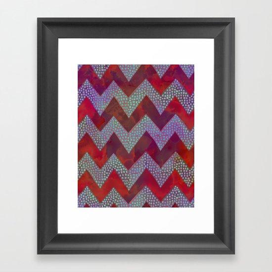 Little Squares Chevron - Red Framed Art Print