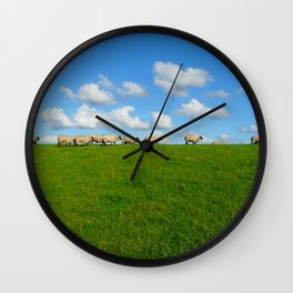 Landscape with sheeps Wall Clock